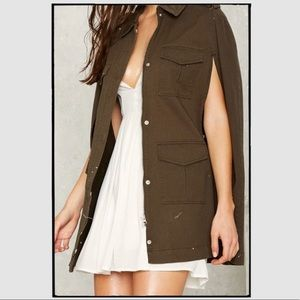 Nasty Gal Military Green Cape Jacket